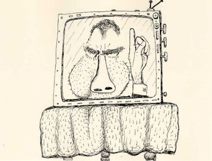 Philip Guston, drawing from Poor Richard, 1971, a series of caricatures of Richard Nixon