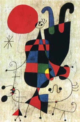 Joan Miro - Figura y perro en frente al sol (Figures and Dog in Front of the Sun), 1949