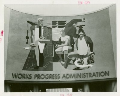 """Philip Guston, """"Maintaining America's Skills,"""" created for WPA Building at New York's 1939 World's Fair"""