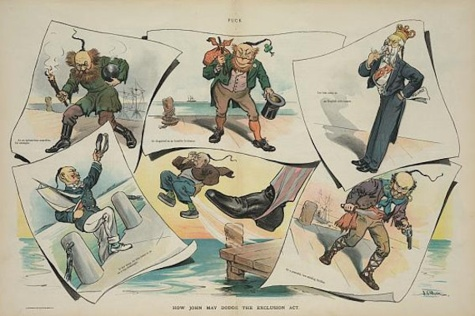 "Anti-Chinese cartoon titled ""How John may dodge the exclusion act."" (Library of Congress)"