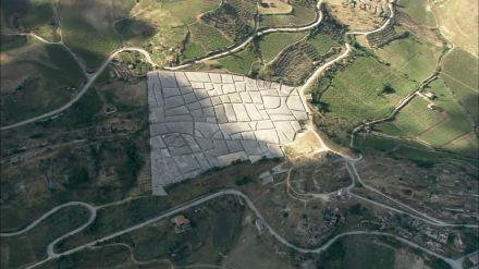 Aerial view of Il Cretto di Burri, Sicily, Italy