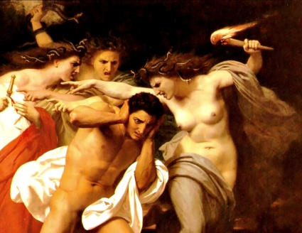 William Adolphe Bouguereau, detail from Orestes Pursued by the Furies (also known as The Remorse of Orestes), 1862; The Chrysler Museum of Art