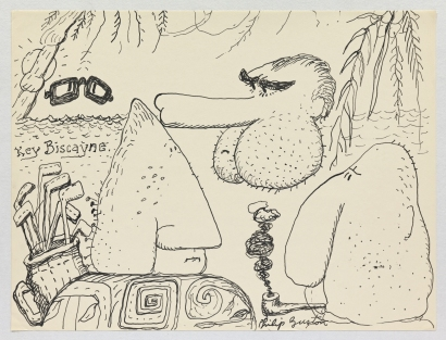 Philip Guston, Untitled, 1971. Ink on paper; 26.7 x 35.2 cm = 10 1/2 x 13 7/8 in. © The Estate of Philip Guston, Courtesy Hauser & Wirth [GUSTO77430]