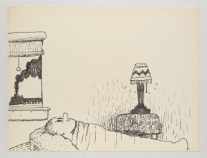 Philip Guston, Untitled (Poor Richard), 1971. Ink on paper; 26.7 x 35.2 cm = 10 1/2 x 13 7/8 in. Private Collection. © The Estate of Philip Guston, Courtesy Hauser & Wirth [GUSTO77351]
