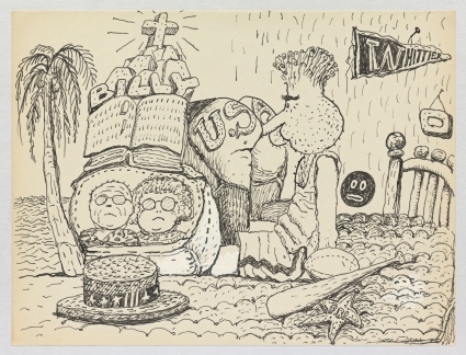 Philip Guston, Untitled, 1971. Ink on paper, 26.7 x 35.2 cm = 10 1/2 x 13 7/8 in. Private Collection. © The Estate of Philip Guston, Courtesy Hauser & Wirth [GUSTO77446]