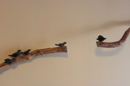 Gordon Senior, Birds on a Branch, 2012, detail; sculpture is approximately 6' long, wood and cast bronze, collection of J.R. Sumser