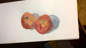Apples with some of surround 4, water-soluble pastels, 6 Feb 2017, by Willlam Eaton