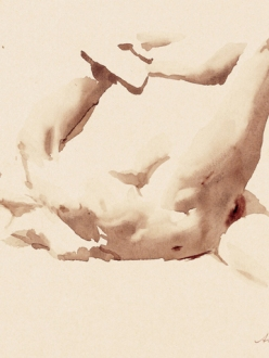 Wendy Artin, Tamara on her Side with Foot in Hand, 2003, watercolor on Fabiano Ingres paper, 12 x 9, © 2003-2014