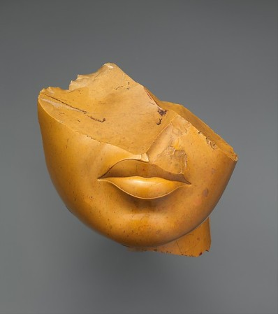 Fragment of a Queen's Face, yellow jasper, Egyptian, MET museum, ca. 1350 BC