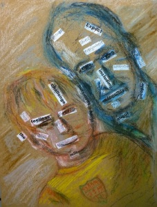 """William Eaton, """"Jonah and Bill, Biarritz long ago,"""" collage with Conté crayon, March 2017"""