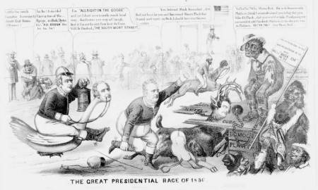The Great Presidential Race of 1856, cartoon from HarpWeek collection of American political prints, 1766-1876
