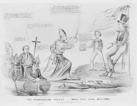 The Propagation Society - More Free than Welcome - American political cartoon from HarpWeek collection