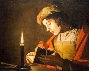 Matthias Stom, A Young Man Reading at Candlelight, Nationalmuseum, Stockholm