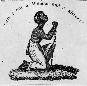 'Am I not a Woman and a Sister' American typefounder's cut from William Lloyd Garrison's abolitionist newspaper 'The Liberator,' 1832