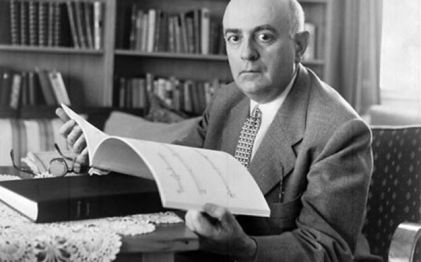 Theodor Adorno, photo with books and sheet music