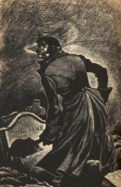 Heathcliff exhumes Catherine's corpse, wood engraving by Fritz Eichenberg, 1943