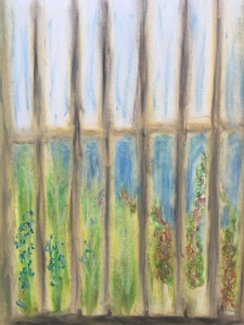 View from the courtyard of the Legion of Honor, San Francisco, oil pastels, William Eaton, 1 April 2018