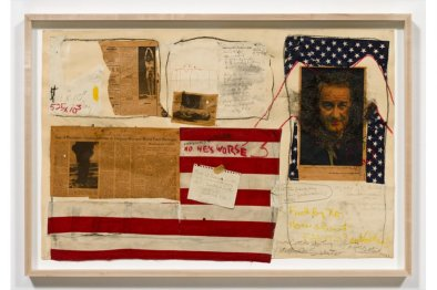 LBJ (Lyndon Johnson), collage by Judith Bernstein, 1968 (in Whitney Portrait Show, 2017)